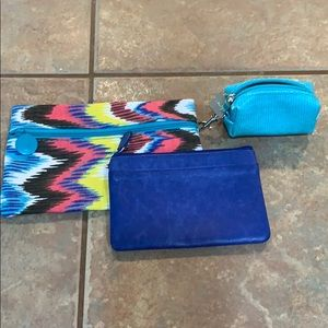 Bundle lot of 3 makeup coin purse keychain Ipsy